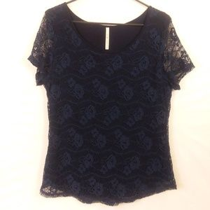 Dark blue lace overlay top size large